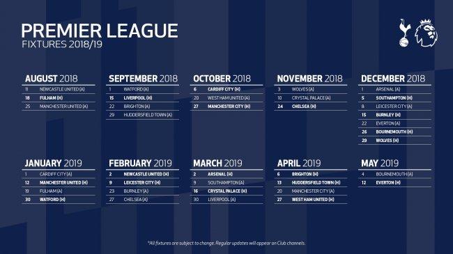 9ca1feaf3 Terminarz 2018/2019 pod Tottenham! - Tottenham Hotspur - Spursmania ...